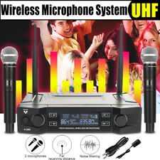 Pro UHF Digital Wireless Dual Handheld Microphone System Party Resist