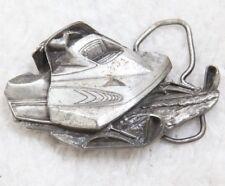 Bergamot Brass Works Vintage Belt Buckle 1979 Retro Snowmobile Silver Gray USA