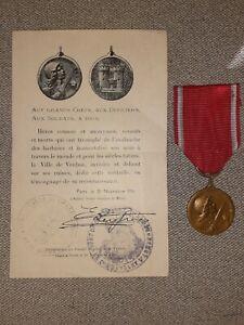Médaille De Verdun 1916  WW1 Avec Diplôme 14-18 Vernier