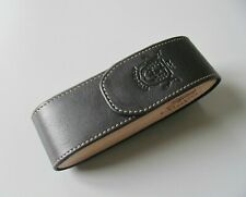 Black Leather glasses hard case pouch, Leather and wooden glasses case
