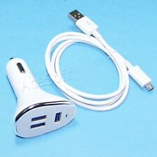 2 Accessory 3-Ports USB Car Charger Sync Cable for Motorola DROID Turbo 2 XT1580