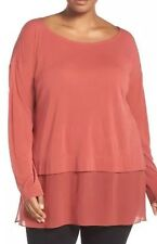 NWT Eileen Fisher Cinnabar Stretch Silk Jersey Bateau Neck Tunic Sz M $248