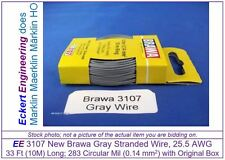 EE 3107 NEW Gray Brawa 33 ft (10m) 25.5 AWG Stranded Wire Single Conductor