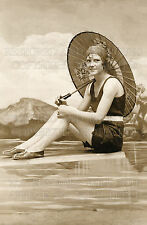 1930s Art Deco fashion girl swimsuit parasol photo CHOICE 5x7 or request 8x10 or