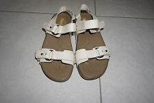 SKECHERS Walk and Work It Cream Leather Strappy Sandals Size 8