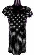 Basic By H&M Women Dress Size S Short Sleeve Polka Dot Black White Above Knee