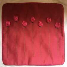 """Five 12"""" x 12"""" Square Wine Cushion Covers Embroidered Tulip Flower Design"""