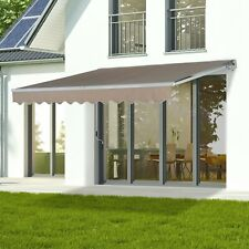 13'x8' Sun Shade Patio Awning Waterproof Manual Retractable Outdoor polyester