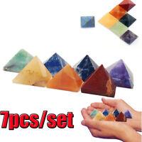 7Pcs/Set Chakra Pyramid Stone Set Crystal Healing Wicca Reiki Quartz Pyramid
