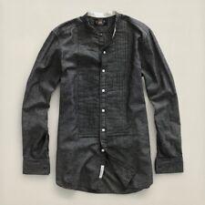 $295 MEN'S Ralph Lauren DOUBLE RL RRL BARTON TUXEDO SHIRT IN BLACK-GREY SIZE XS