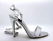 No Doubt Womens UK 7 Metallic Silver High Heel Wrap Around Lace Stiletto Sandals