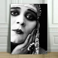 "THEDA BARA Head Dress - Silent Film Actress - CANVAS ART PRINT POSTER - 16x12"""
