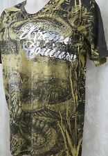 AFFLICTION TEE xtreme couture Gold Foil Embossed LARGE Skull