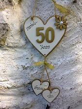❤️ Wedding Anniversary Hanging heart Personalised gift wall plaque sign  ❤️