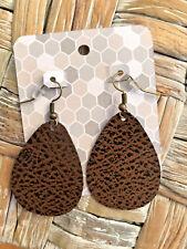 Leather Earrings - faux leather brown / black teardrop earrings
