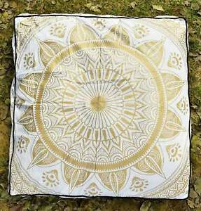 """Ottoman 35"""" Indian Square Mandala Case Cushion Floor Pillow Seating Cover Pouf"""