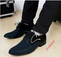 Mens Fashion Casual Lace Up Dress Pointed Toe Oxford Loafers Dress Formal Shoes