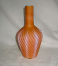 ANTIQUE VICTORIAN PEACH APRICOT CASED GLASS CUT VELVET SWUNG RIBBED BOTTLE VASE
