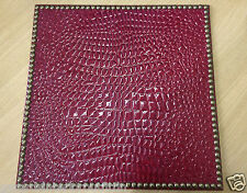 "DRANSFIELD & ROSS Placemats 15"" Square, Red Crocodile w/Gold Nailheads, Set-4"