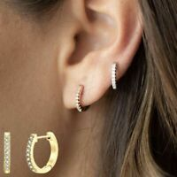 Small Round Huggie Stud Fashion Hoop Earrings for Women PAVOI 14K Gold Plated Sterling Silver Post Cubic Zirconia Huggie Earrings