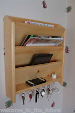 Mail, iPad & Key Organizer, Handcrafted Wood Letter Wall Rack Holder Hooks Clear