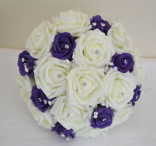 Pretty ivory PURPLE wedding bouquet posy flowers bridesmaid bride buttonholes