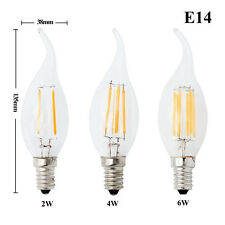 Dimmable Edison E14 2W/4W/6W LED Candle Filament Light Bulbs Cool/Warm White