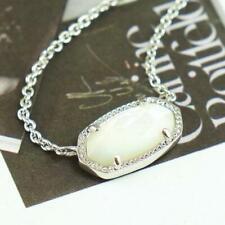 NWOT Kendra Scott Elisa Ivory Pearl Shell Necklace Silver Tone