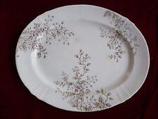 Antique Eastlake Ironstone Platter, Brown & White, Meakin