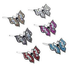 Sparkling Ornate Diamante Butterfly Hair Clip choice of 6 colours