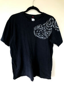 Kiwi Planet Aotearoa New Zealand T-Shirt Short Sleeve Crew Neck Black Size L