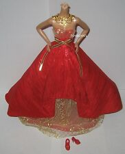 Model Muse Holiday 2014 Christmas Fashion Outfit Red Gold Dress Gown Shoes NEW