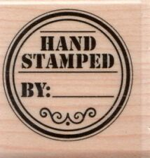 NEW Stampabilites Rubber Stamp  Hand Stamped by: circle label signature