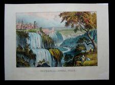 1874 Original Currier & Ives Print Waterfall at Tivoli Campagna Romana of Italy