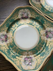 Antique Set of 4 Handpainted ROSES FLOWER Gold Encrusted Rosenthal Plates SQUARE