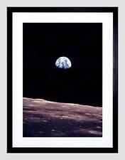 SPACE PLANET EARTH LUNAR SURFACE MOON LANDSCAPE COOL FRAMED ART PRINT B12X7764
