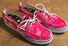 Sperry Top-Siders Bahama Tie Dye Fuschia Pink White Boat Shoes Women's 6.5M VGUC