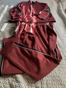 Mens Athletic Fleece Burgundy Sweat Suit Track Size Xl