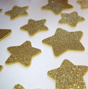 Gold Glitter Star Wall Stickers 18 In A Pack Sparkle Nursery Kids Room Baby