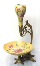 Magnificent Estate Vintage Rare Art Nouveau Style Porcelain & Bronze Centerpiece