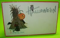 Halloween Postcard Gibson 1912 Vintage Black Cat Goblin Owl Red Border Original