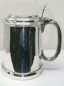 Vintage Silver Plated Glass Bottomed Lidded Flagon Tankard Dated 1938