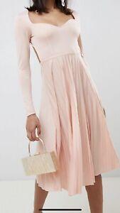 Asos Design Sweetheart Pleated Blush Pink Midi Dress 12 40s 50s 60s RRP £35