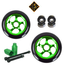 PRO STUNT SCOOTER PACK 2 110mm GREEN METAL CORE WHEELS ABEC 11 BEARING PEGS