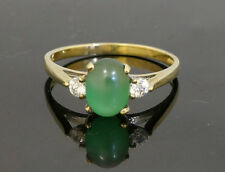 9ct Yellow Gold Simulated Jade Solitaire w/ Simulated Diamond Accents (Size Q)