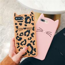 Shockproof 3D Cute Cat Silicone Slim Case Cover For iPhone X 8 7 6 5 Samsung S8