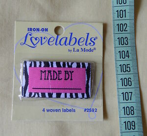 """Lovelabels """"Made by .............."""" - Pink & Zebra Pattern Iron-on Labels"""