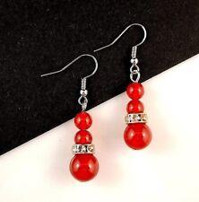 1 Natural Pair of Red Agate Gemstone & Rhinestone Dangle Earrings - #B315