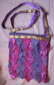 Handmade Dragon Scale Purple & Mauve Suede Bag Pagan Wiccan Hippy Steampunk boho