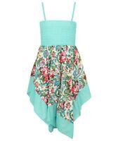 Girls/Kids Teal Paisley Patterned Summer dress casual